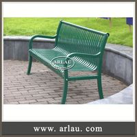 Arlau Steel Solid Wood Bench, Tubular Steel Outdoor Furniture, Hdpe Plastic Park Bench With Galvanized Steel Arms