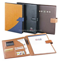 Customized hot selling handmade office A4 size hardcover zipper closure leather document file folder