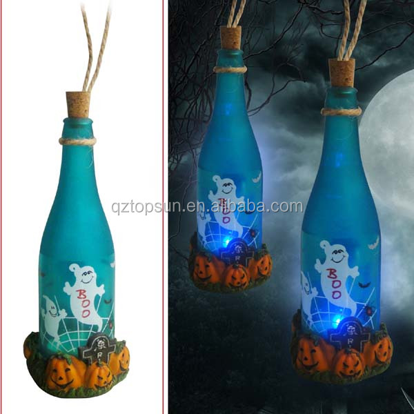 Ployresin pumpkin +glass bottle for halloween decoration