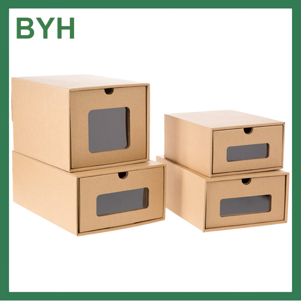 Corrugated kraft paper cardboard shoe storage box