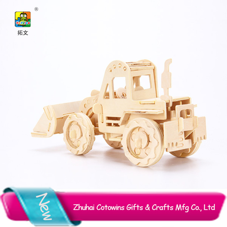 Bulldozer 3D Wooden Puzzle Wooden Car Construction Kit Model For kids