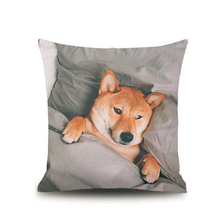 Wholesale custom size 100 % polyester washable cheap cute dog home decor pillow case