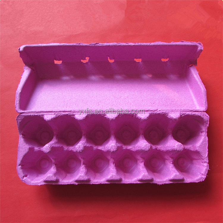 Pink and Blue 12 Counts Biodegradable Paper Pulp Egg Packaging Tray with Cover