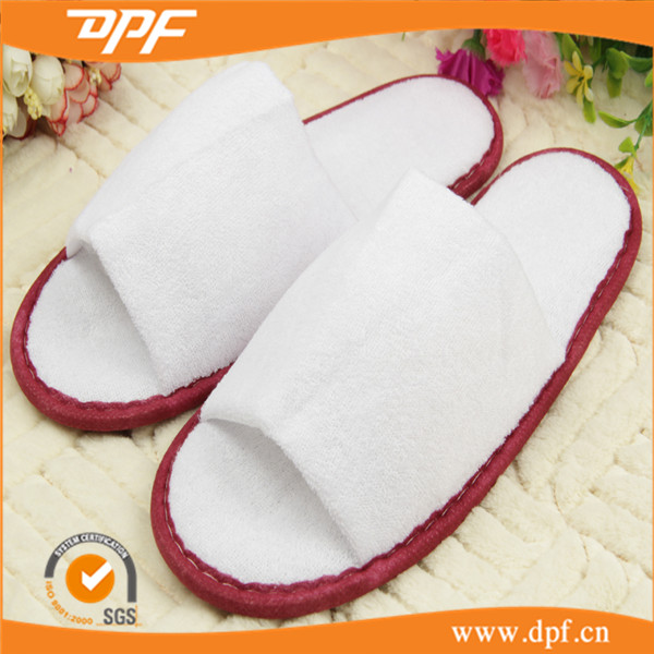 China supplier classic hotel terry fabric cotton sponge slippers