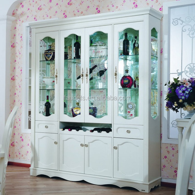 Top Grade Wine Showcase Cabinet European Solid Wood Furniture Wine Cabinet
