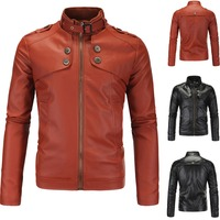 2016 high quality mens motorcycle leather collar Slim washed 4 buttons straight hem zipper jacket