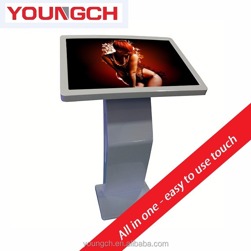 Tilted table 42 inch free standing video display kiosk for high quality full color videos high resolution media playing indoor u