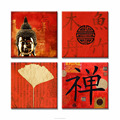Chinoiserie Art Photo Canvas Prints 4 Piece HD Zen Golden Buddha Digital Printing Home Living Room Decoration