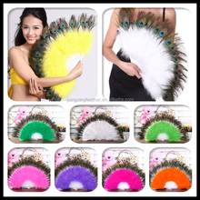 beautiful light yellow peacock feather fan cheap
