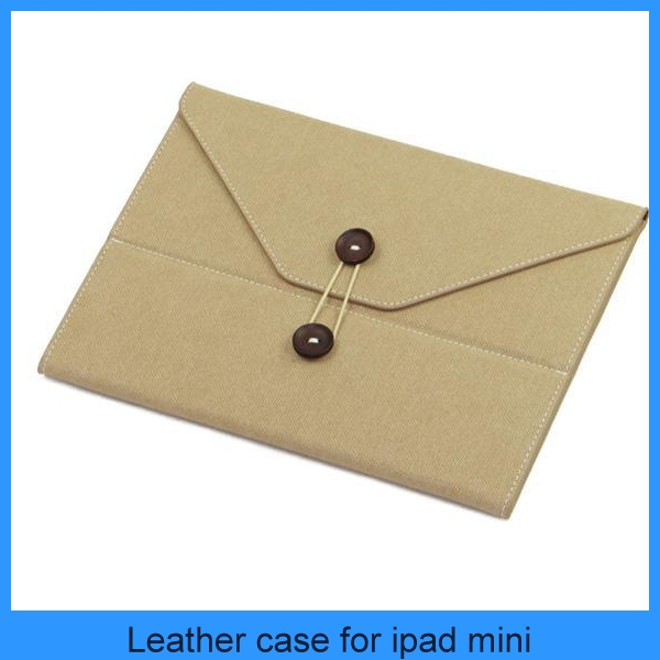 High quality Korean Cute Portfolio style W/ fastener Envelope Smart leather case for ipad mini/4/3/2 sleep/awake (PT-IPM207)