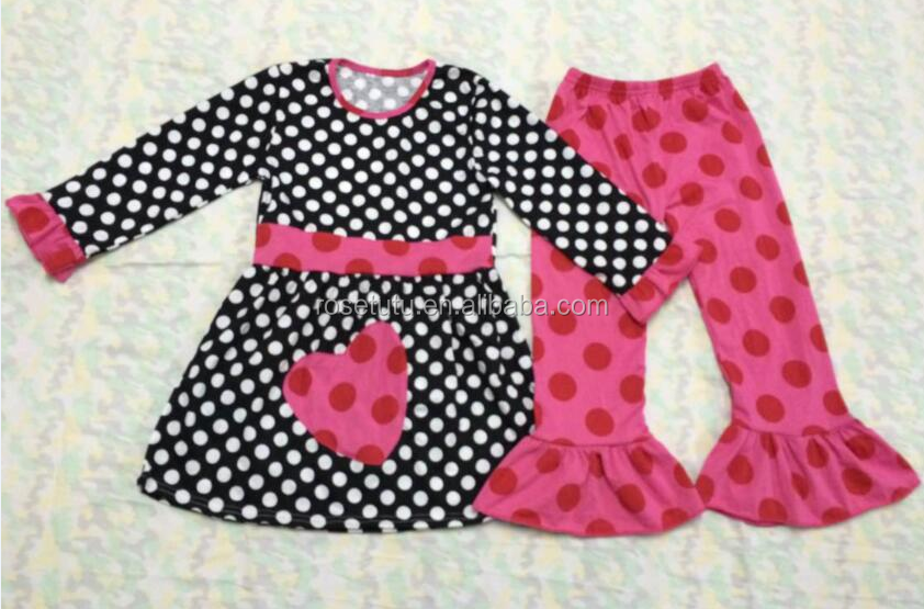 childrens clothing set kids trendy clothes white polk dot and a love on the dresses children clothes clothing sets