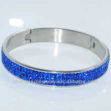 Classic Stainless Steel Wide Band Hand Make Crystal Bangle for sales
