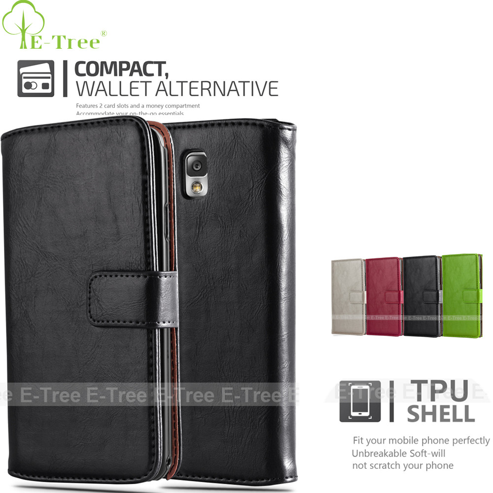 Luxury PU Leather Case Back Cover For Samsung Galaxy Note 3 Phone Case, Wallet Card Solt Case For Samsung Note 3