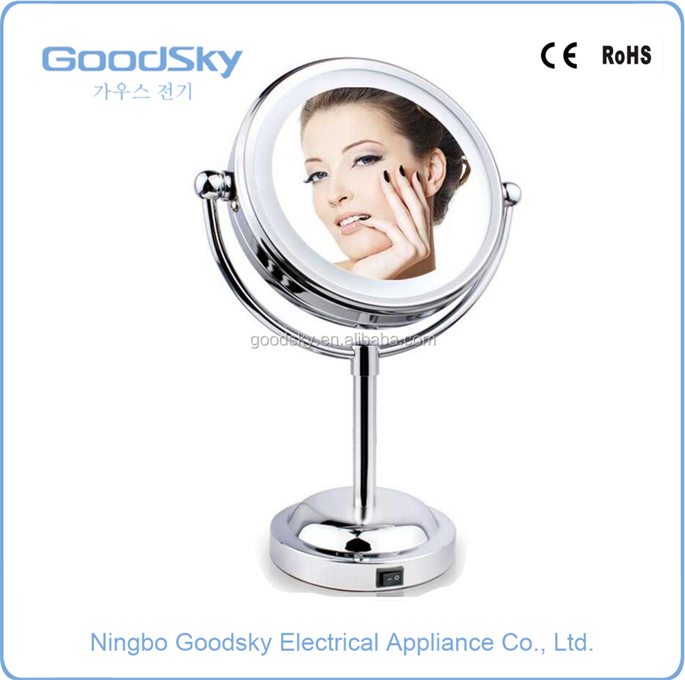 6 Inch Round 3X Magnification Makeup Table Standing Make Up Mirror with LED Light