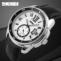 china special design independent second dial & date quartz leather watch for men