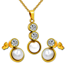 18K Gold Plated Pendant Necklace Dubai Gold Jewelry Pearl Set with Cubic Zirconia