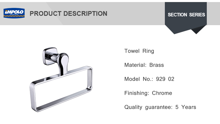 Hot Wholesale Unique Hotel Chrome Plated Brass Square Bathroom Hand Towel Ring