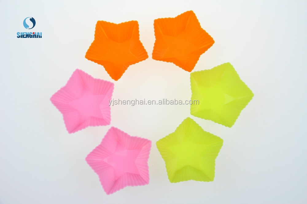 6 Pcs Silicone cake kitchen tool Star shape silicone cake mould