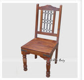Wooden Dining Chair with Iron Grills Online