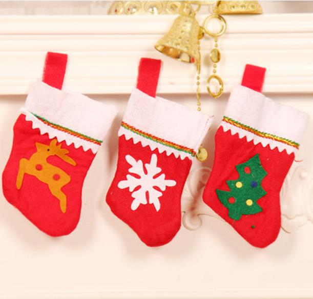 New wholesale cheap small import art minds item tree celebrate it ornaments felt crafts stocking santa decoration for <strong>Christmas</strong>