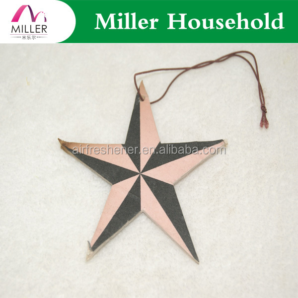 five star hotel giveaway gift decoration pentagram pendant paper car air freshener