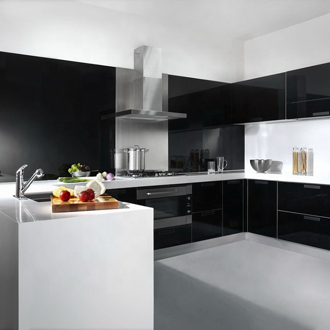 High Gloss Black Painting Modern Kitchen Cabinets With Frosted Glass