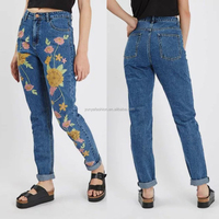 Blue Jean Trousers Denim Whole Embroidery Pocket Design Women Jean