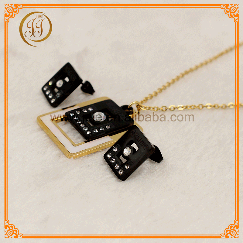 Stainless Steel Gold And Black Jewellery Womens Necklace And Earrings