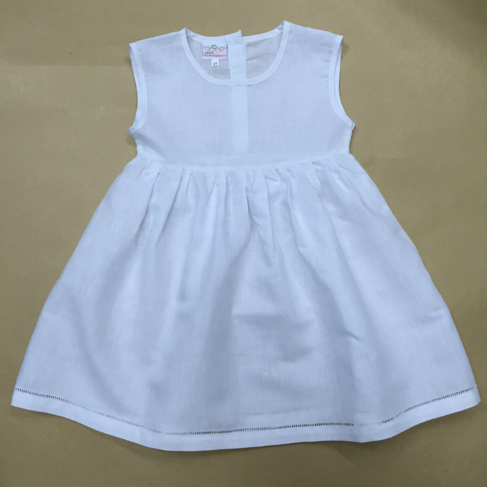 baby girl summer dresses, White sleeveless hemstitch cotton/linen dress(free shipping for USA)
