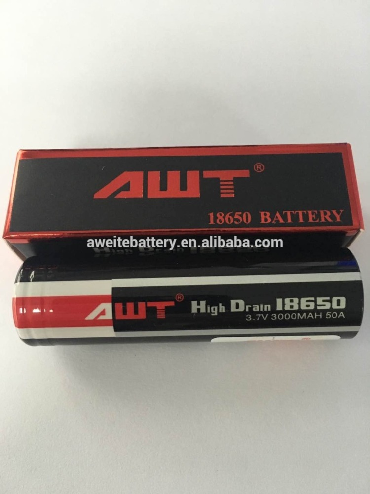 AWT 3 7 volt battery for 1:1 clone goon rda 18650 50A 3000mah 3 7 volt battery for icr 18650-20f
