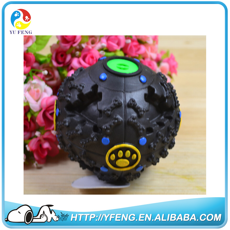 Popular Black Squeaky Sound Throw Silicone Rubber Ball Dog Chew Toy