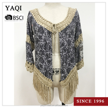 Latest Design Long Sleeve Lady Cardigan Shirt Hand Crochet Casual Blouse