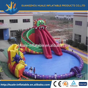 Large inflatable sea world inflatable red dragon water slide with water swimming pool