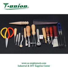 18 Pieces Leather Hand Sewing Tools Kit Leather Stitching Tools with Edger Creaser Groover Awl