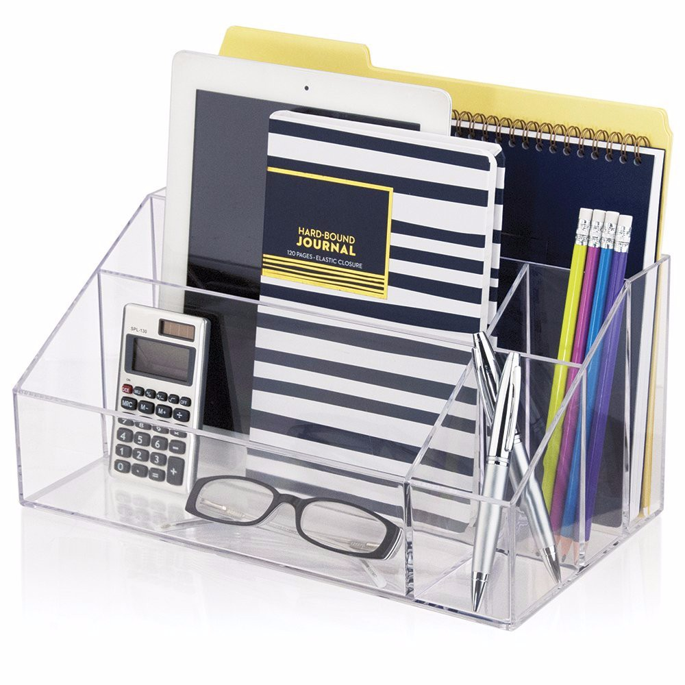Hot Selling Amazon Custom Office Stationery Organizer/ Clear Acrylic Desk Organizer