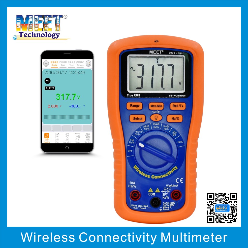 MS-WDMMD90 Wireless Connectivity Digital Multimeter with Test Lead