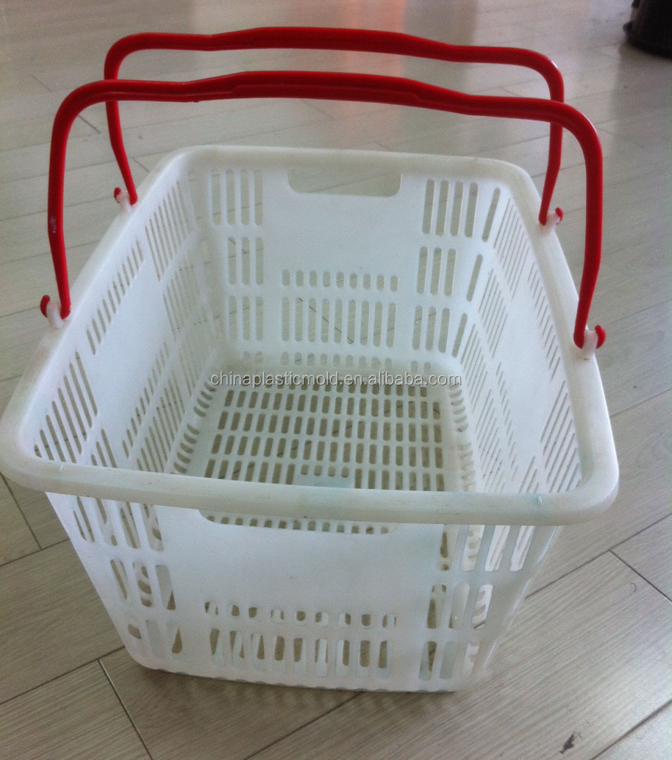 Plastic vegetable storage baskets with handles