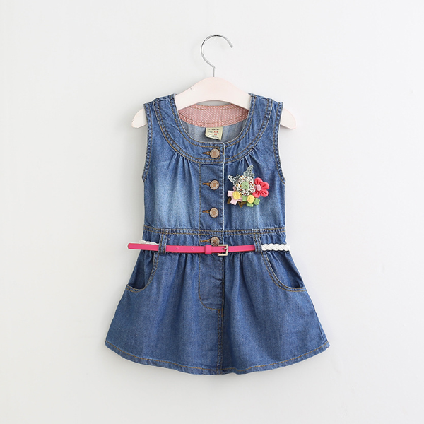 PHB20877 spring wear kids denim frock girls new style fashion dress
