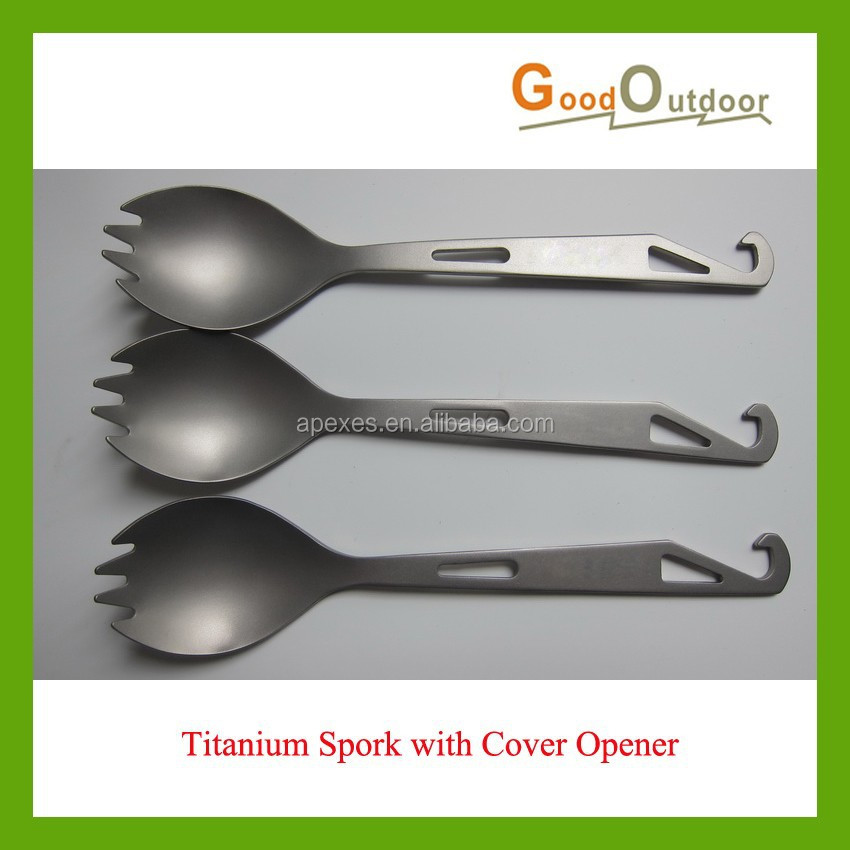 CK02A42 New Model Multifunctional Outdoor Camping Titanium Spork with Cover Opener