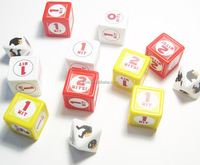 wholesale custom blank indented polyhedral dice with custom sticker