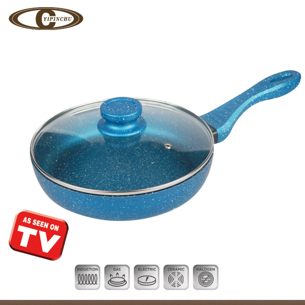 Aluminum forged frypan with glass lid as see on tv