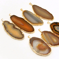 WT-P523 Natural original color slice agate pendants 60-70mm long