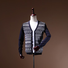 Wholesale mens v neck custom sweater embroidered pattern 100% polyester cardigans