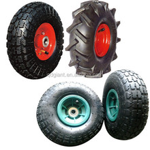 "10"" Flat Air Free Replacement Tires For Hand Truck Dolly Cart Wheel 3.50-4"