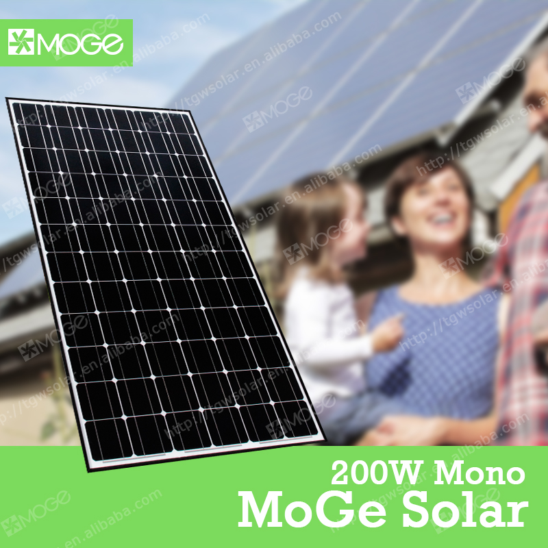 Moge monocrystal 200w light weight solar panel shanghai of china manufacturers