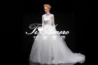 1A175 Beautiful Princess Organza High Neck Long Sleeve With lace wedding dress