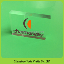 hot sale new product logo block cast crystal transparent polishing acrylic block with silk screen printing