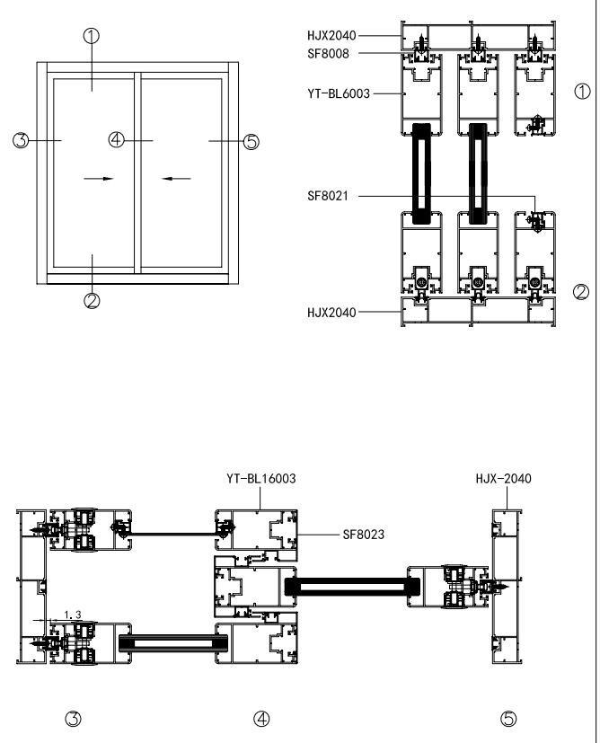 Top Track And Bottom Track Sliding Door Aluminum Door Frame Profile ...