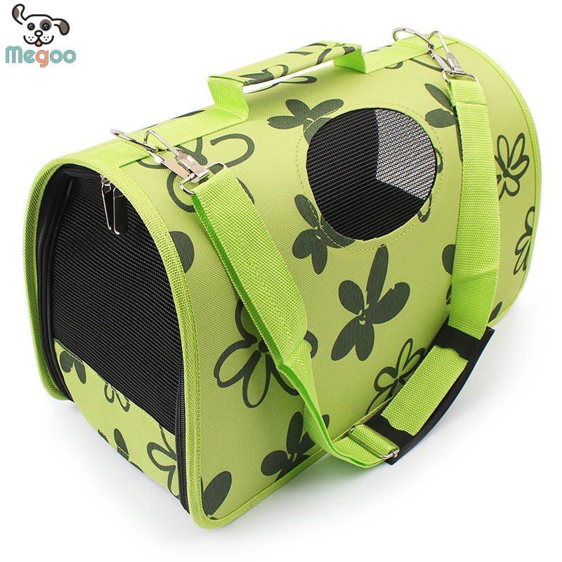 Green Floral Printed Canvas Pet Bag Portable Folding Dog Travel Bags With Breathable Mesh WIndows