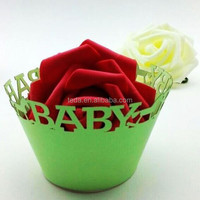2015Teda ZB-007 Free Shipment Plain Mint Green Baby Shower Paper CupCake Wrappers cake decoration